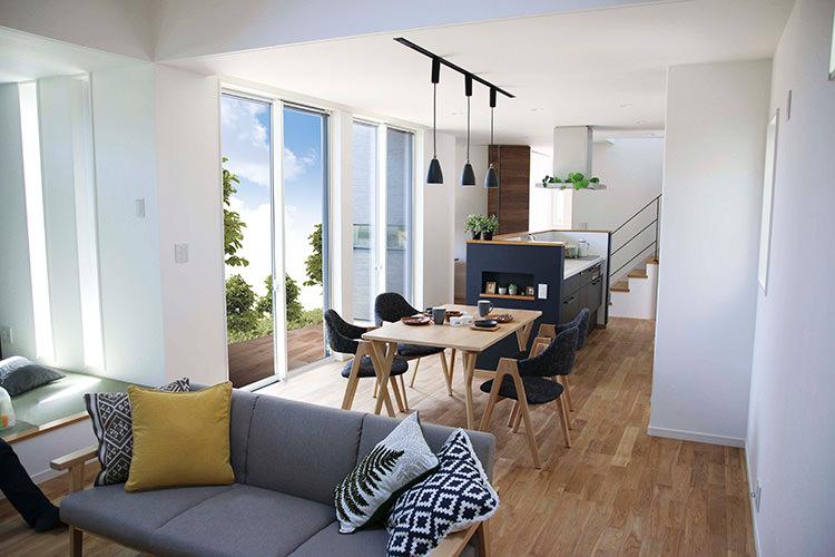 勾配天井が織り成す開放感のあるリビングのある家